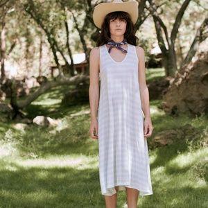 THE GREAT. The Swing Tank Dress Blue Stripe
